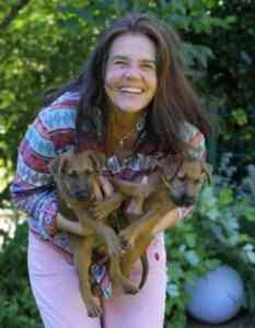 Ingrid und Irish Terrier Welpen
